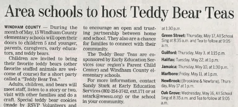 This image shows a snippet of the Teddy Bear Teas article in the Brattleboro Reformer.