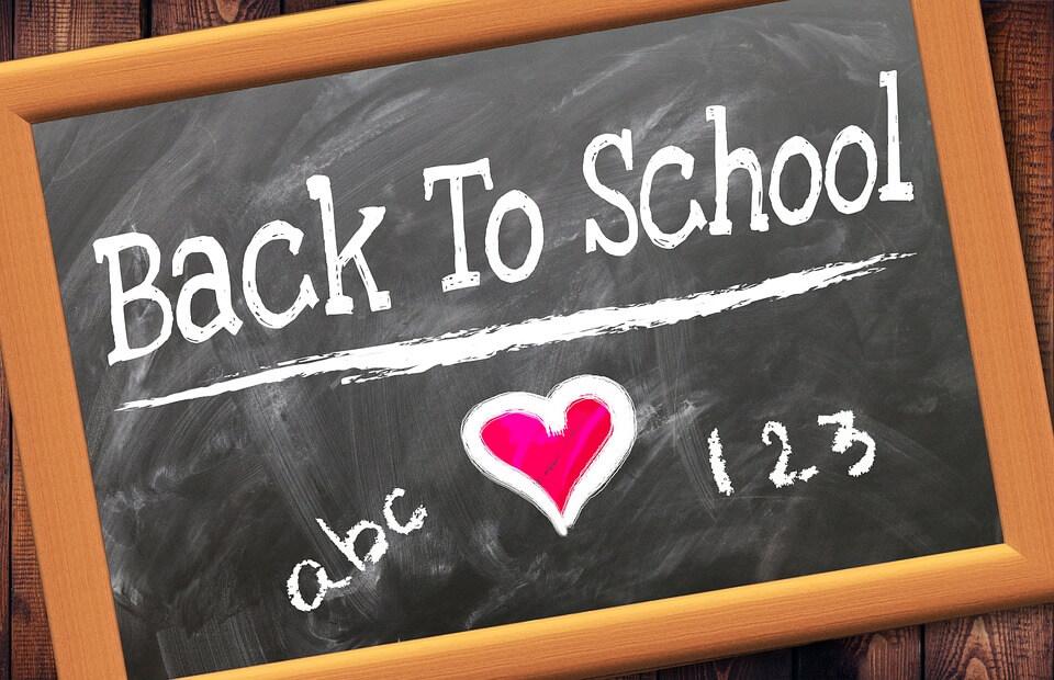 "A chalkboard that reads ""Back to School"""