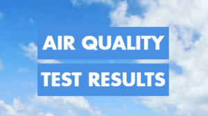 "The words ""Air Quality Test Results"" appear over a background of bright blue sky with white clouds."