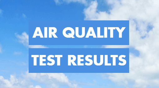 """The words """"Air Quality Test Results"""" appear over a background of bright blue sky with white clouds."""