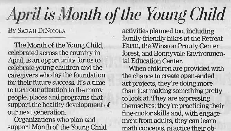 A snippet image of the newspaper article about Month of the Young Child.