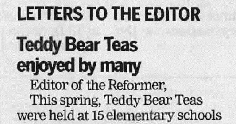 Newspaper clipping that reads Teddy Bear Teas Enjoyed by Many.